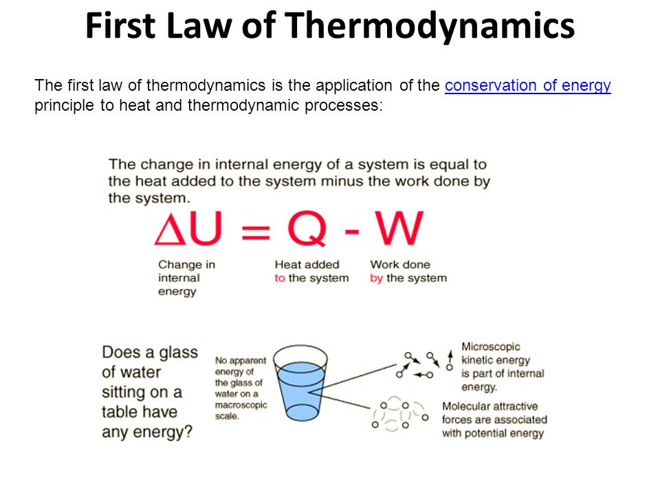 First Law of Thermodynamics The first law of thermodynamics is the application of the conservation of energy principle to heat and thermodynamic proce