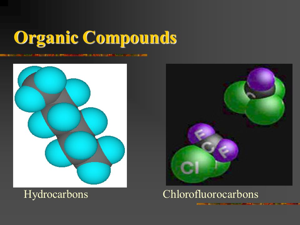 Organic Compounds Compounds containing carbon atoms combined with each other with atoms of one or more other elements such as hydrogen, oxygen, nitrog