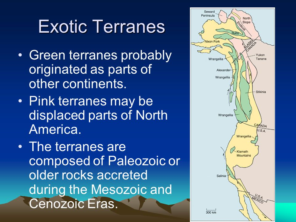 Exotic Terranes Exotic Terranes Green terranes probably originated as parts of other continents. Pink terranes may be displaced parts of North America