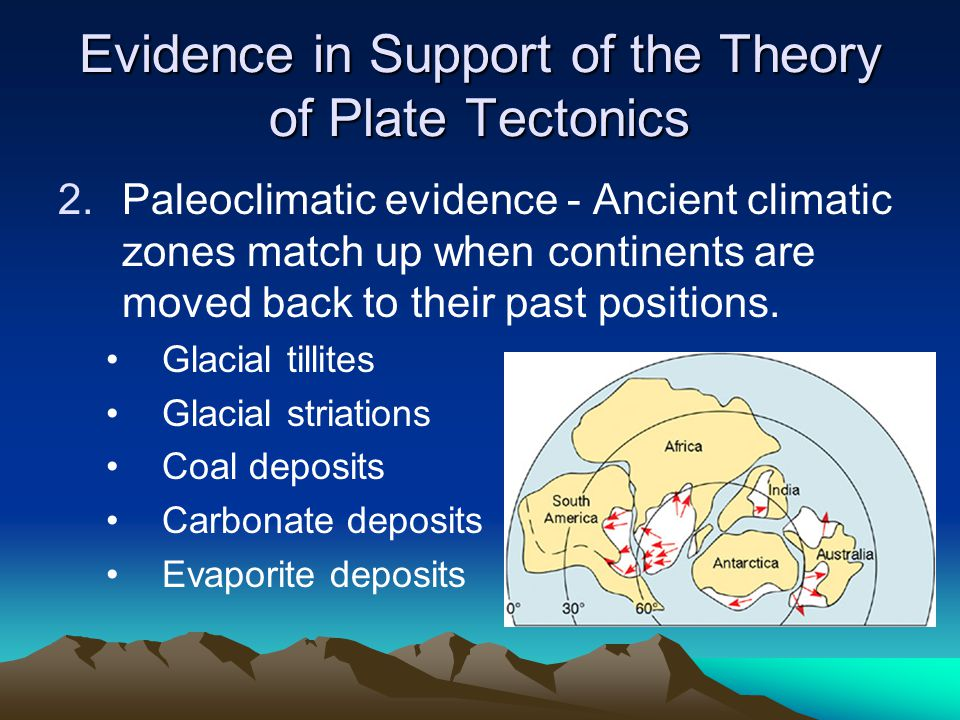 Evidence in Support of the Theory of Plate Tectonics 2.Paleoclimatic evidence - Ancient climatic zones match up when continents are moved back to thei