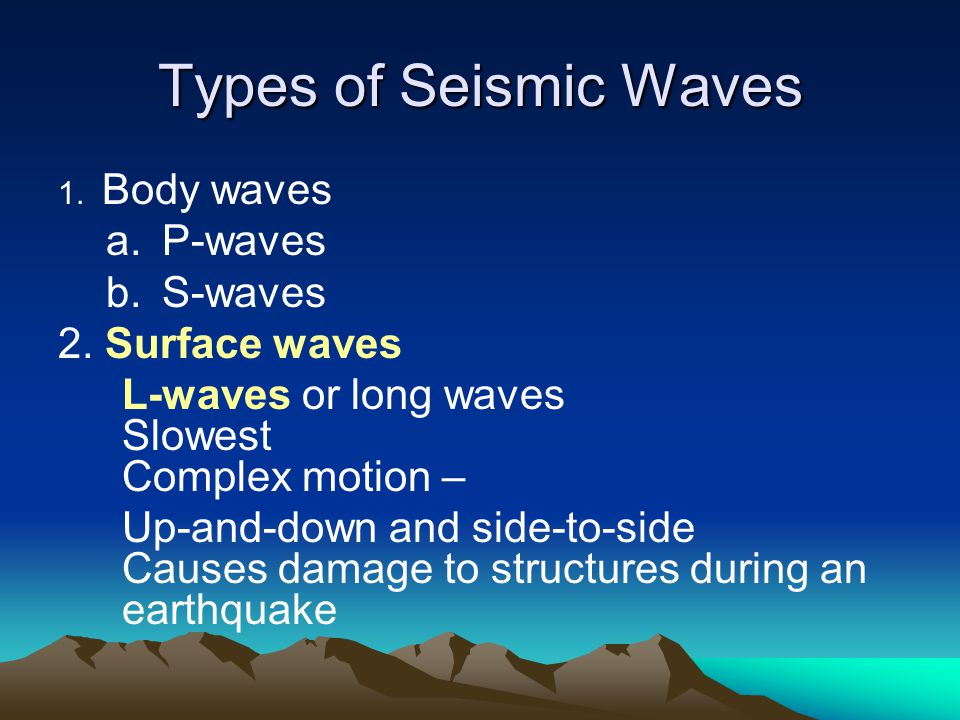 Types of Seismic Waves 1. Body waves a.P-waves b.S-waves 2. Surface waves L-waves or long waves Slowest Complex motion – Up-and-down and side-to-side