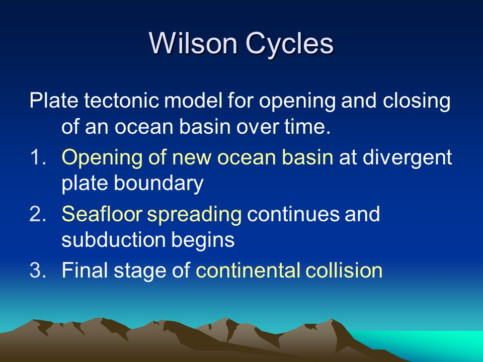Wilson Cycles Plate tectonic model for opening and closing of an ocean basin over time. 1.Opening of new ocean basin at divergent plate boundary 2.Sea