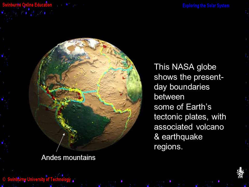 This NASA globe shows the present- day boundaries between some of Earth's tectonic plates, with associated volcano & earthquake regions. Andes mountai