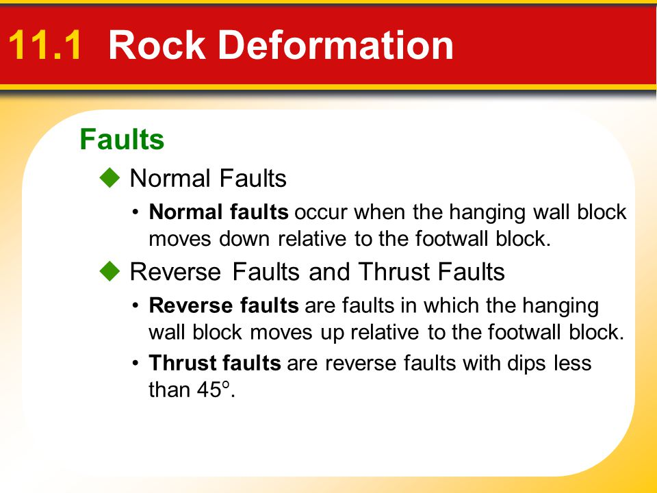 Faults 11.1 Rock Deformation  Normal Faults Normal faults occur when the hanging wall block moves down relative to the footwall block.  Reverse Faul