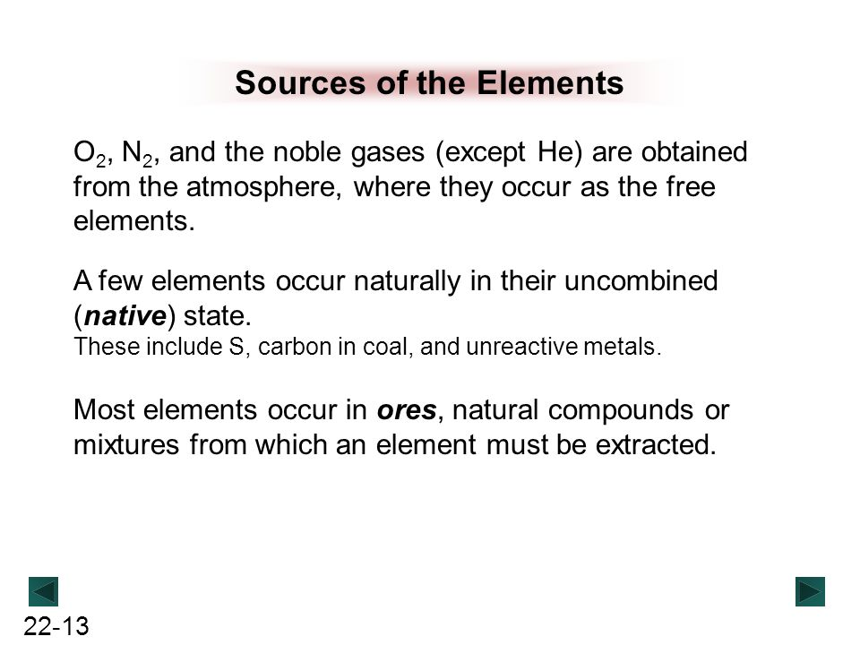 22-13 Sources of the Elements O 2, N 2, and the noble gases (except He) are obtained from the atmosphere, where they occur as the free elements. A few