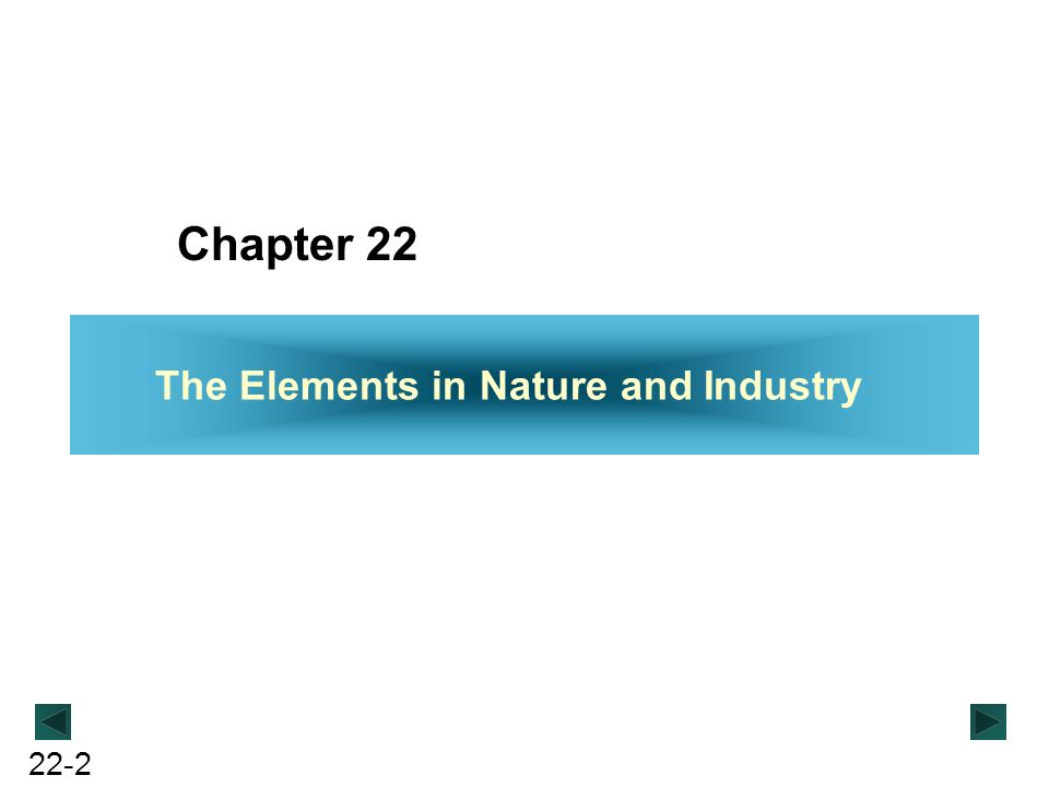 22-2 Chapter 22 The Elements in Nature and Industry