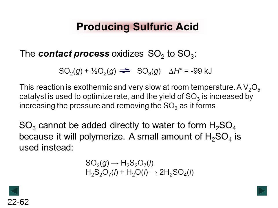 22-62 Producing Sulfuric Acid The contact process oxidizes SO 2 to SO 3 : SO 2 (g) + ½O 2 (g) SO 3 (g)  H° = -99 kJ This reaction is exothermic and v