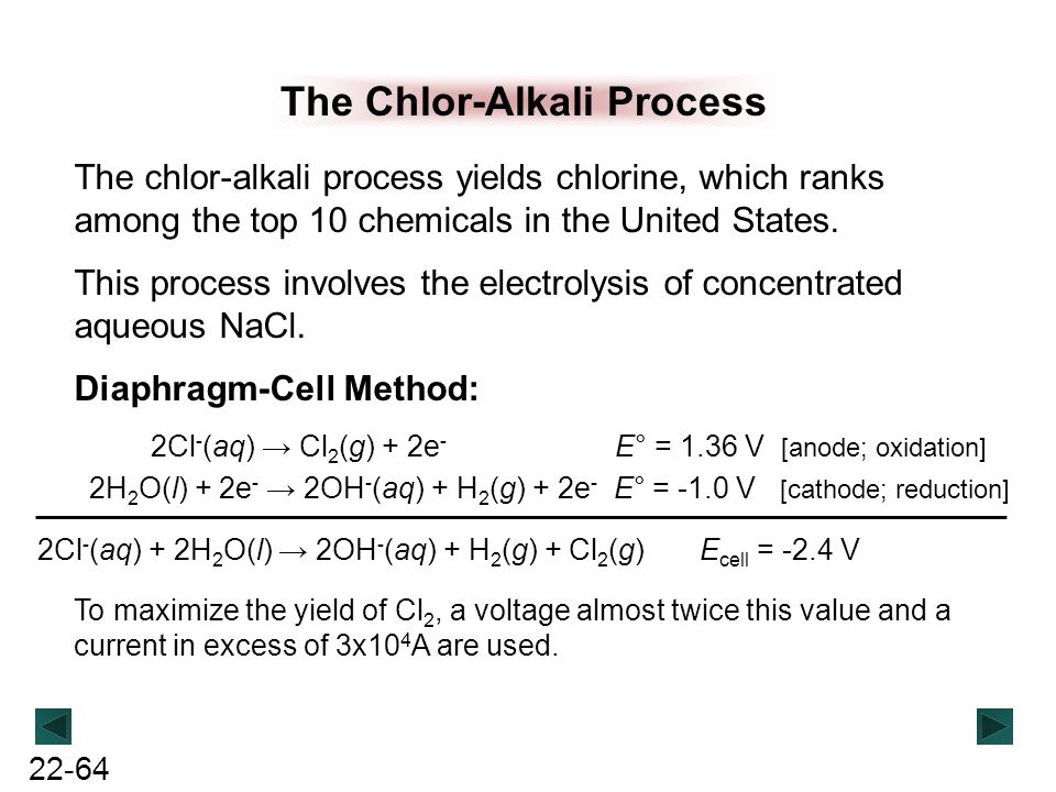 22-64 The Chlor-Alkali Process The chlor-alkali process yields chlorine, which ranks among the top 10 chemicals in the United States. This process inv