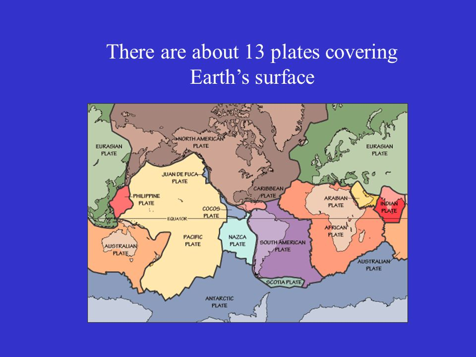 There are about 13 plates covering Earth's surface