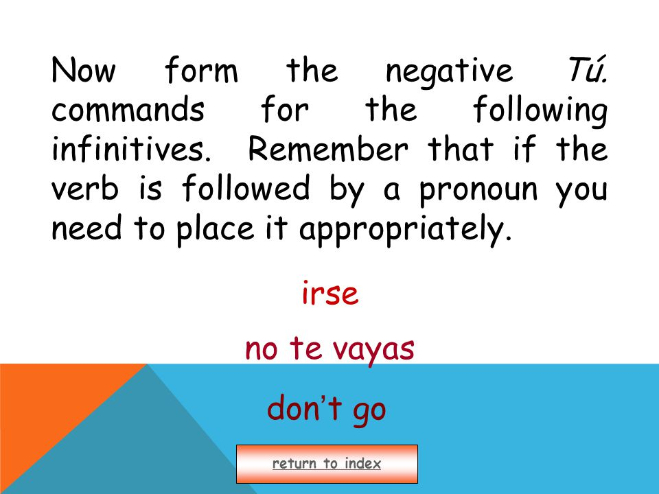 Now form the negative Tú. commands for the following infinitives.