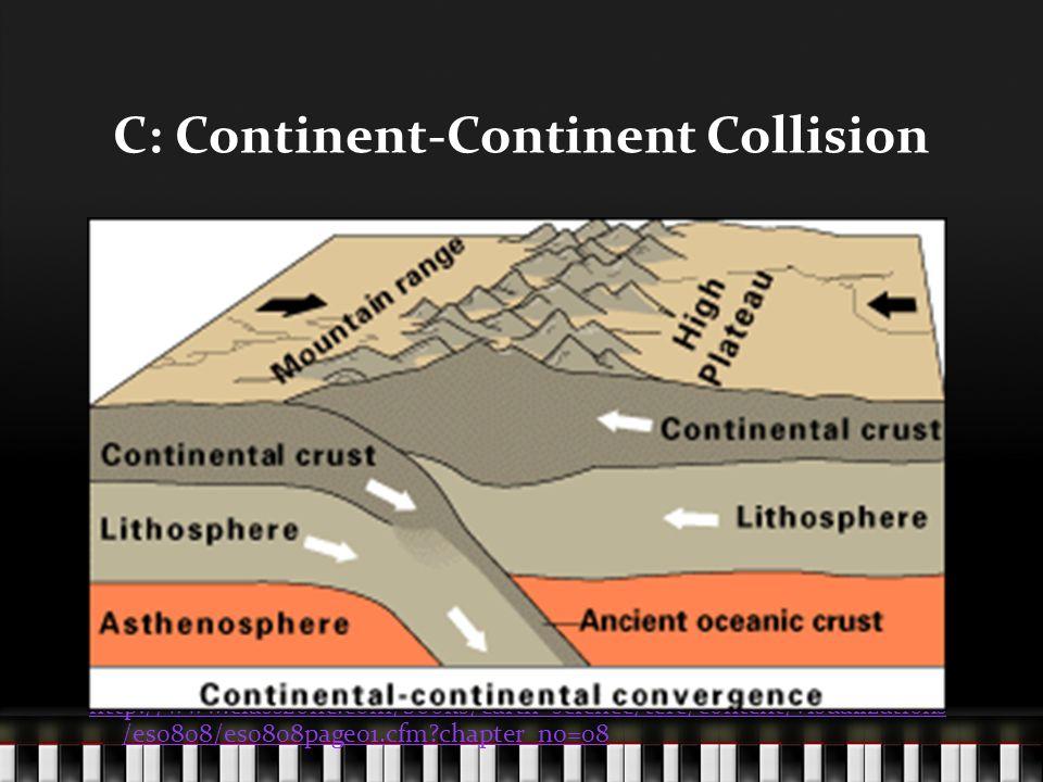 C: Continent-Continent Collision http://www.classzone.com/books/earth_science/terc/content/visualizations /es0808/es0808page01.cfm?chapter_no=08