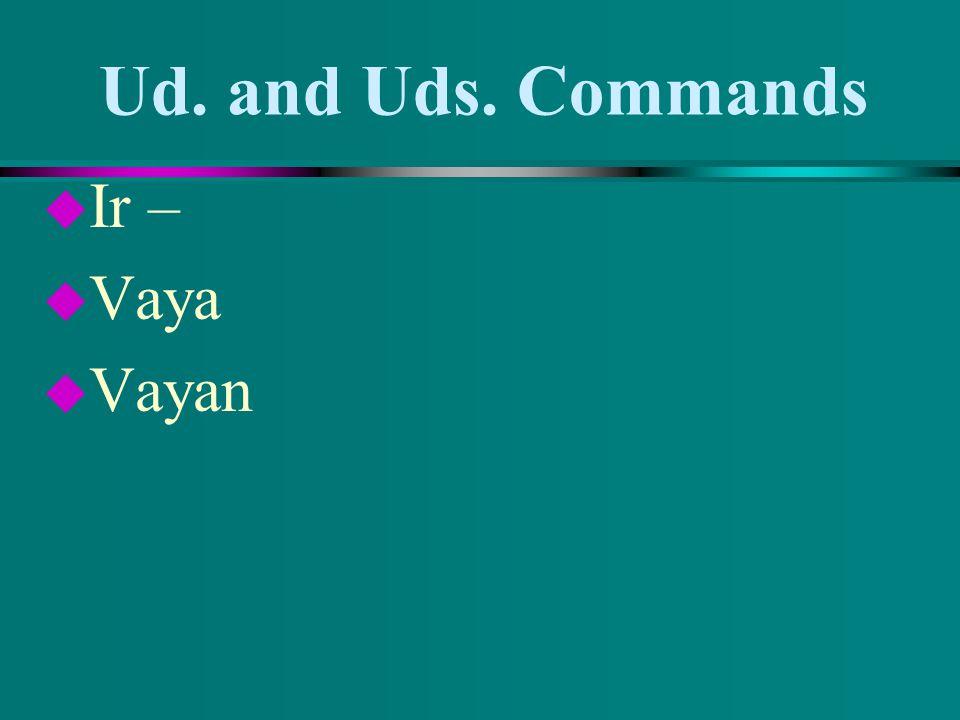 Ud. and Uds. Commands u You have 5 irregular verbs. u Dar u Dé u Den