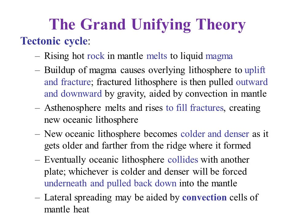 The Grand Unifying Theory Tectonic cycle: –Rising hot rock in mantle melts to liquid magma –Buildup of magma causes overlying lithosphere to uplift an