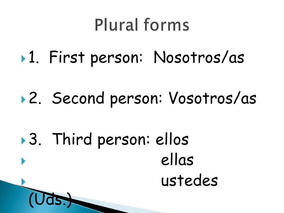  1.First person: Nosotros/as  2. Second person: Vosotros/as  3.