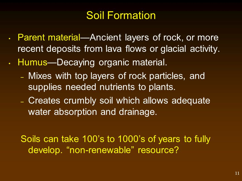 11 Soil Formation Parent material—Ancient layers of rock, or more recent deposits from lava flows or glacial activity.