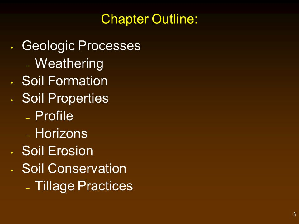 3 Chapter Outline: Geologic Processes – Weathering Soil Formation Soil Properties – Profile – Horizons Soil Erosion Soil Conservation – Tillage Practices