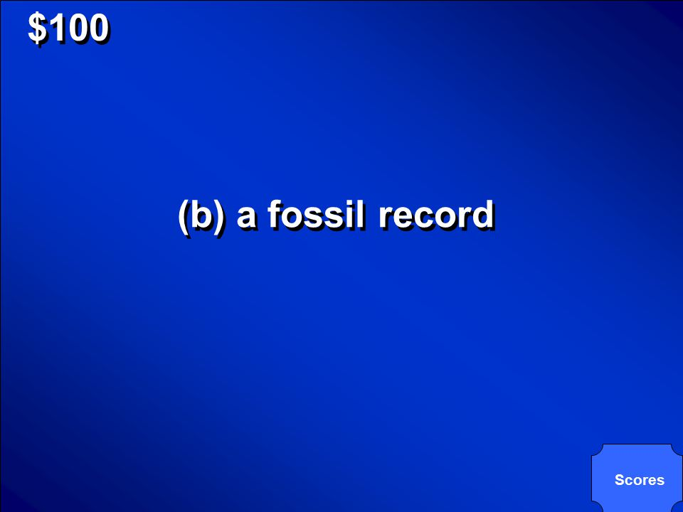 © Mark E. Damon - All Rights Reserved $100 The information about Earth's history that is contained in fossils is _____. (a) paleontology (b) a fossil