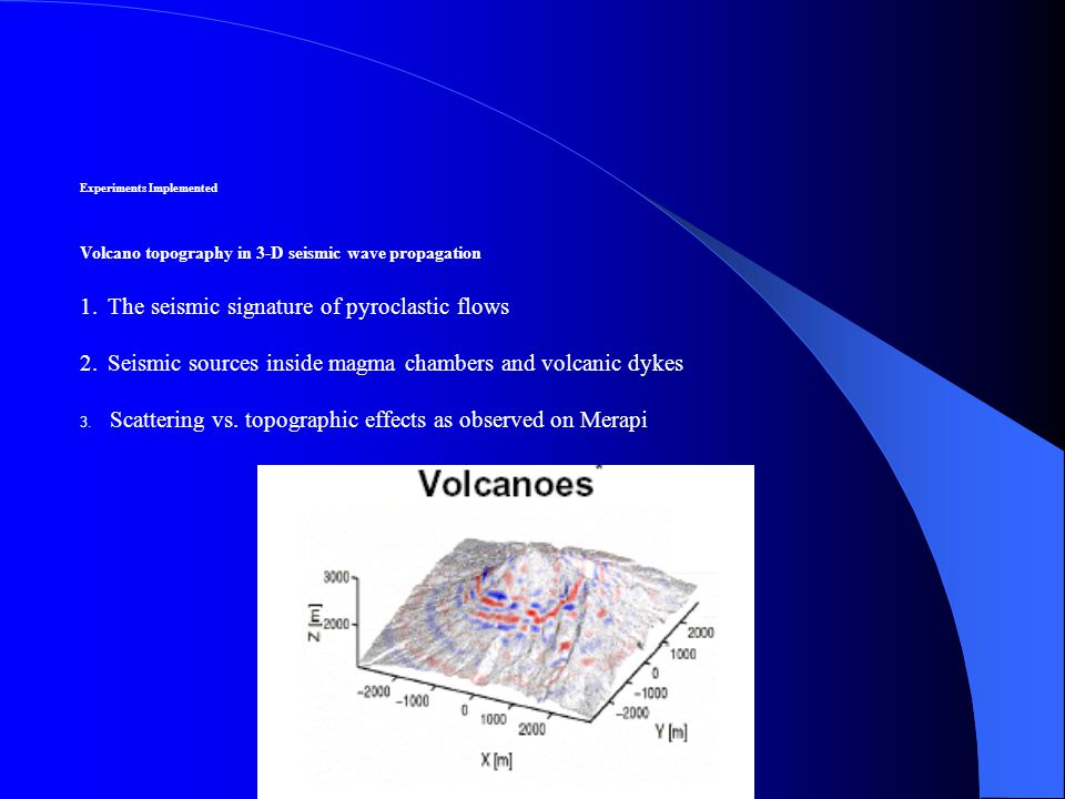 Experiments Implemented Volcano topography in 3-D seismic wave propagation 1.