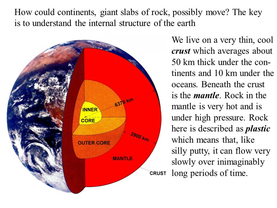 How could continents, giant slabs of rock, possibly move? The key is to understand the internal structure of the earth We live on a very thin, cool cr