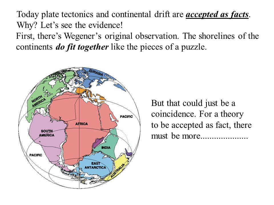 Today plate tectonics and continental drift are accepted as facts. Why? Let's see the evidence! First, there's Wegener's original observation. The sho
