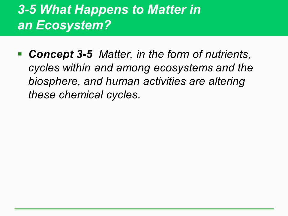 3-5 What Happens to Matter in an Ecosystem?  Concept 3-5 Matter, in the form of nutrients, cycles within and among ecosystems and the biosphere, and