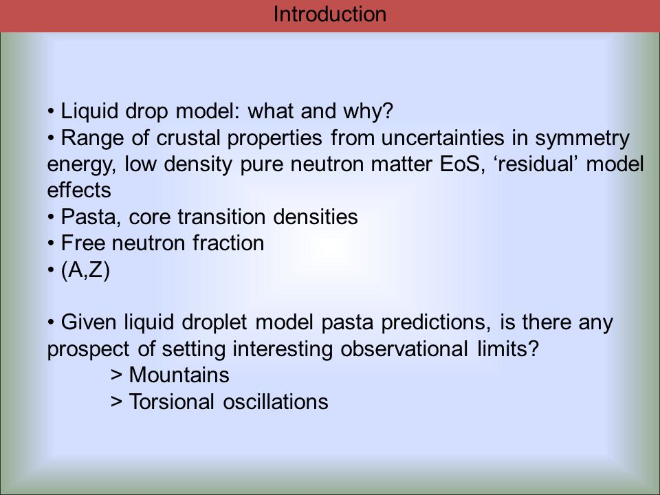 Liquid drop inputs to shear modulus