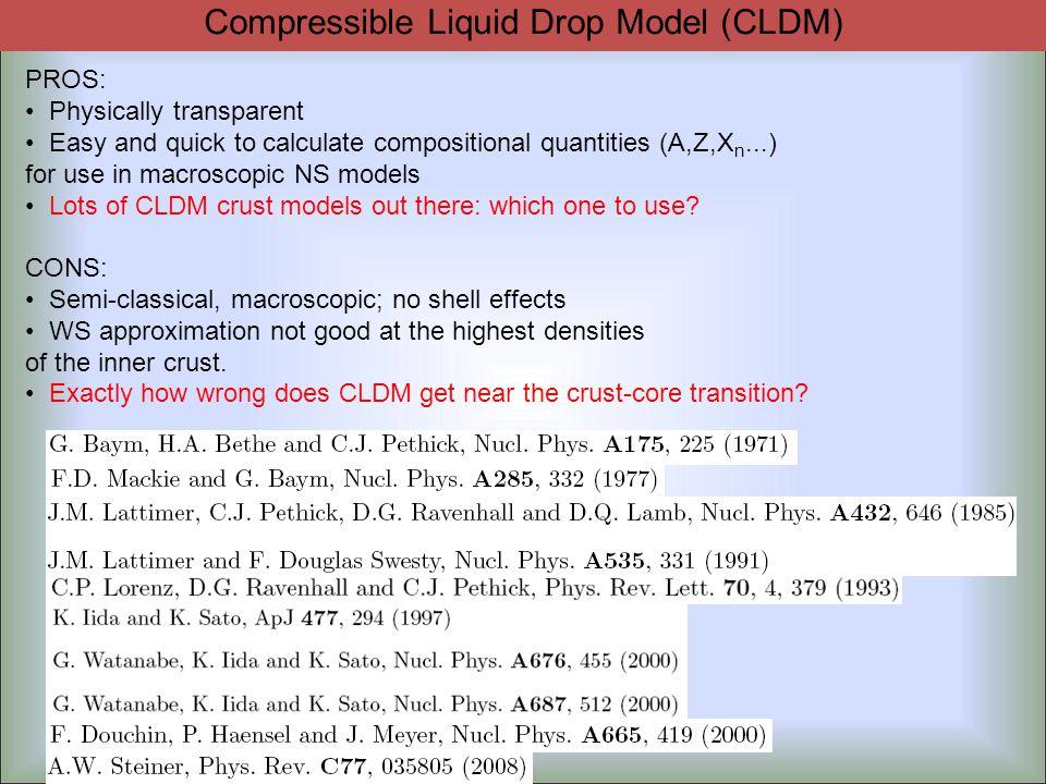 Uniform nuclear matter EoS Surface energy Compressible Liquid Drop Model (CLDM)