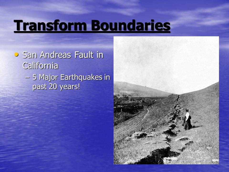Transform Boundaries San Andreas Fault in California San Andreas Fault in California –5 Major Earthquakes in past 20 years!