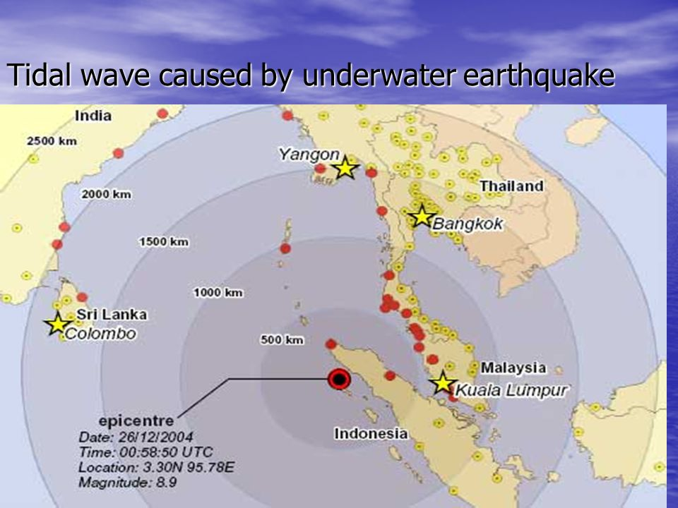 Tidal wave caused by underwater earthquake