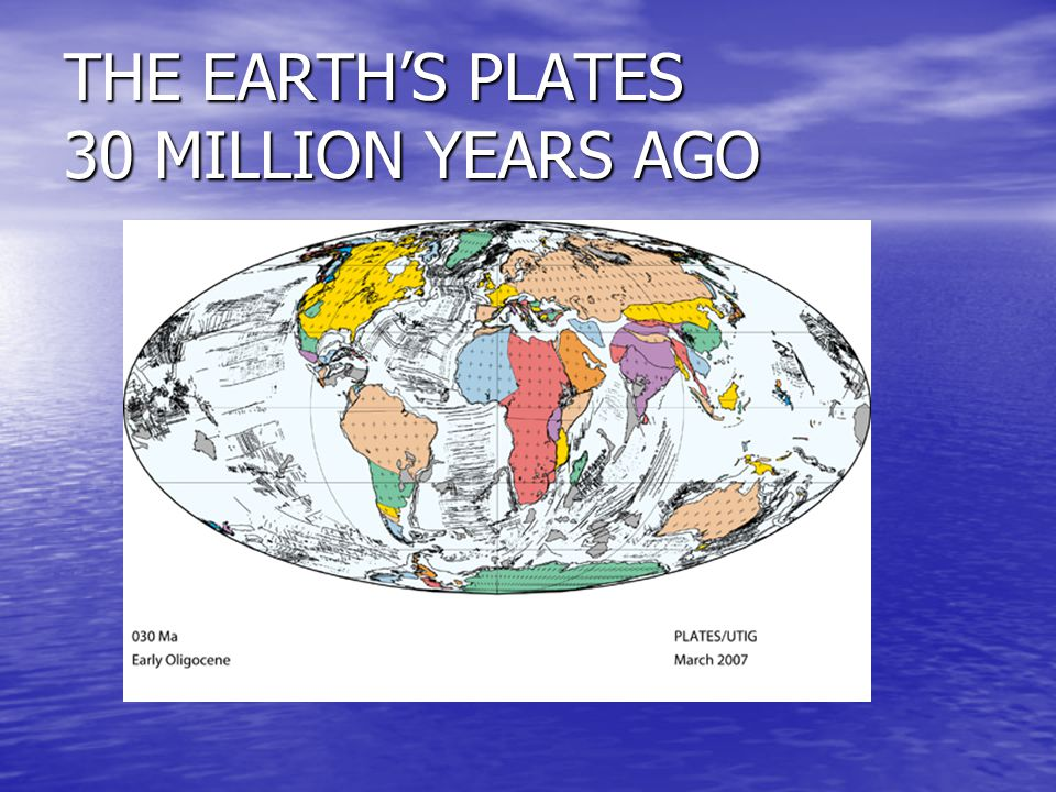 THE EARTH'S PLATES 30 MILLION YEARS AGO