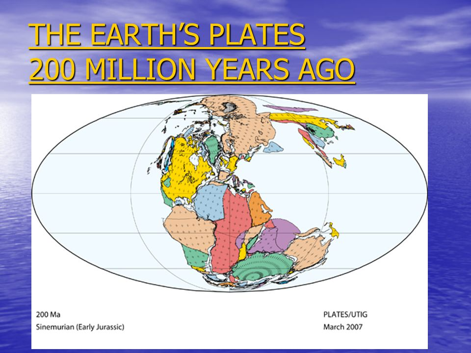 THE EARTH'S PLATES 200 MILLION YEARS AGO THE EARTH'S PLATES 200 MILLION YEARS AGO