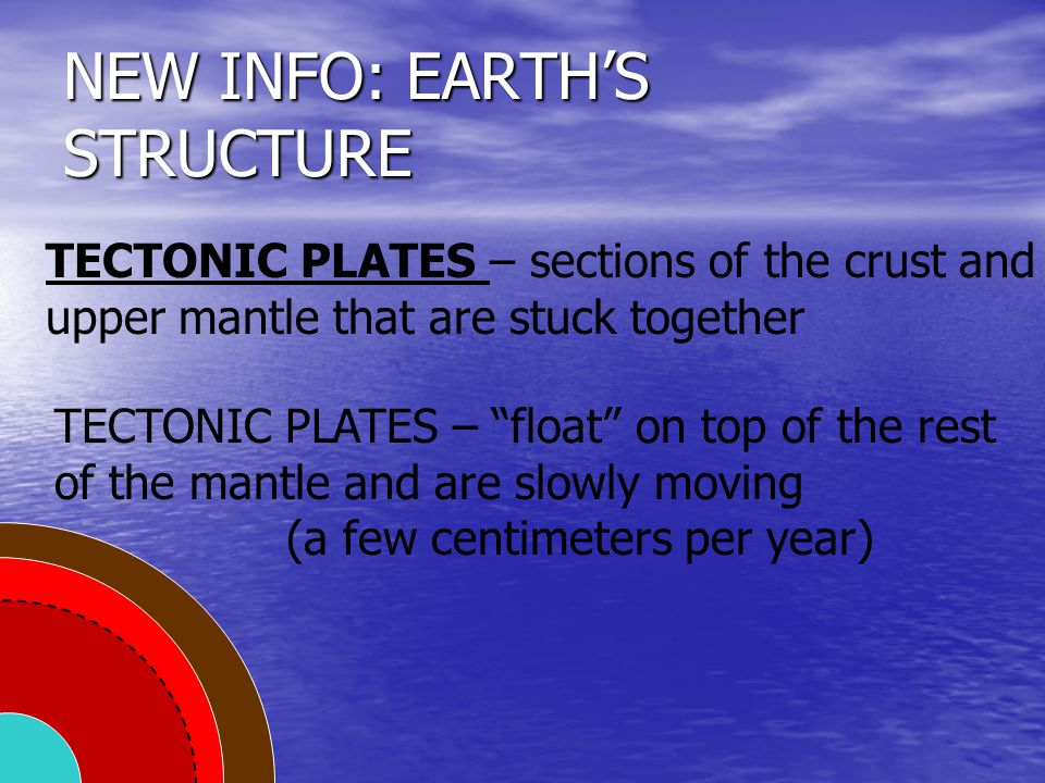 """NEW INFO: EARTH'S STRUCTURE TECTONIC PLATES – sections of the crust and upper mantle that are stuck together TECTONIC PLATES – """"float"""" on top of the r"""