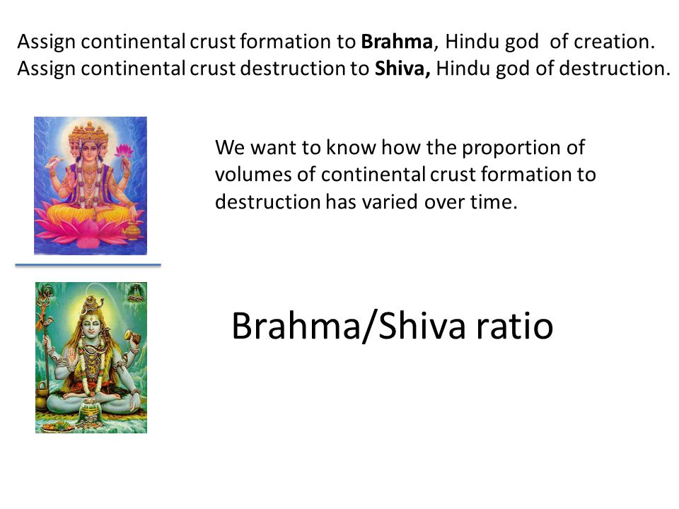 Brahma/Shiva ratio Assign continental crust formation to Brahma, Hindu god of creation. Assign continental crust destruction to Shiva, Hindu god of de