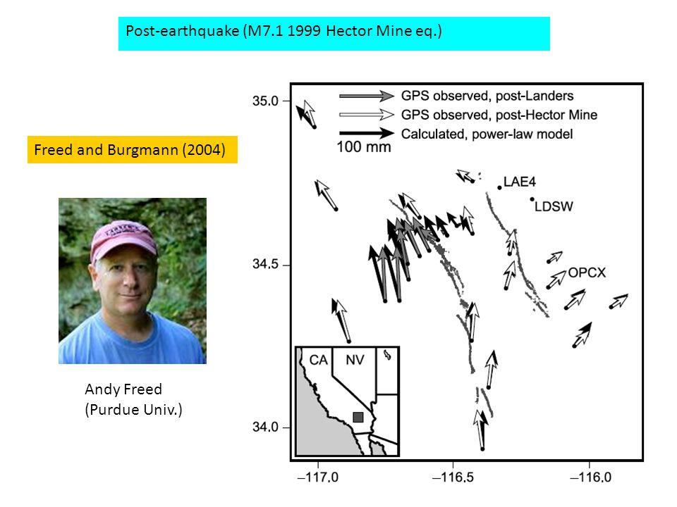 Freed and Burgmann (2004) Post-earthquake (M7.1 1999 Hector Mine eq.) Andy Freed (Purdue Univ.)