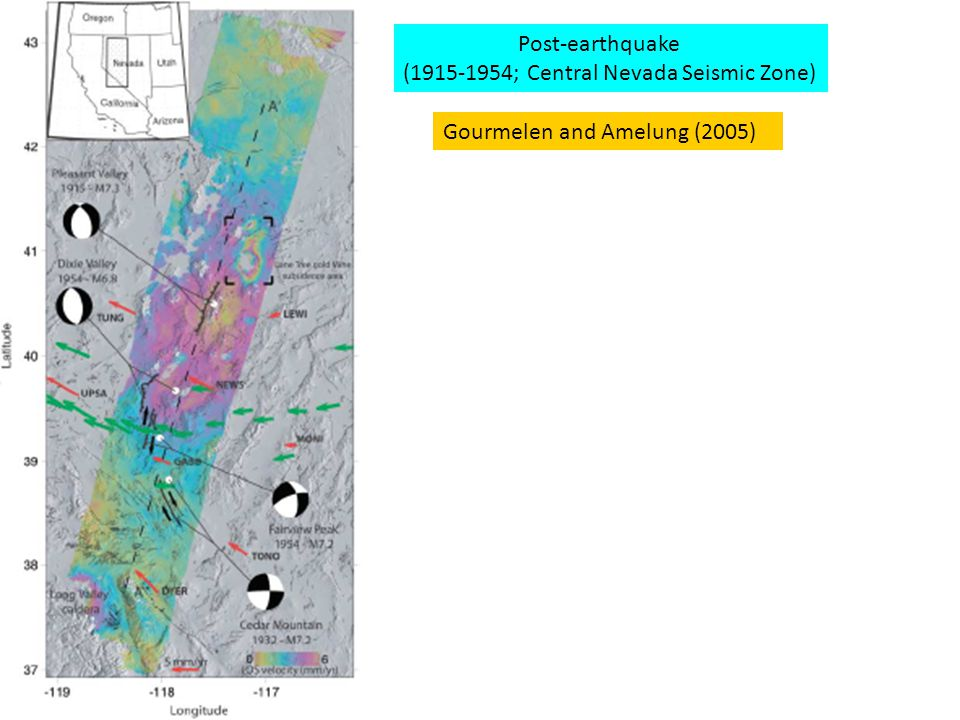 Gourmelen and Amelung (2005) Post-earthquake (1915-1954; Central Nevada Seismic Zone)
