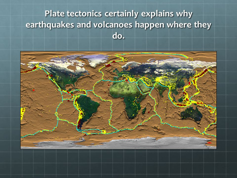 Plate tectonics certainly explains why earthquakes and volcanoes happen where they do.