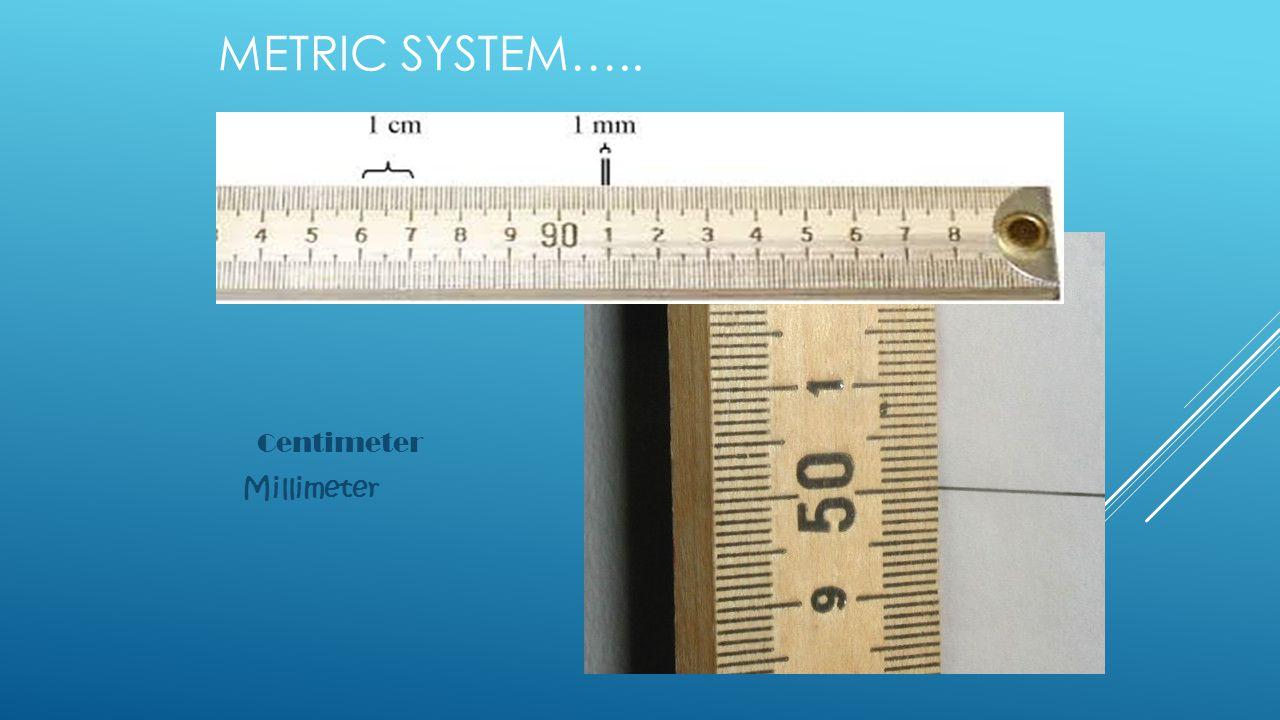 METRIC SYSTEM….. Centimeter Millimeter