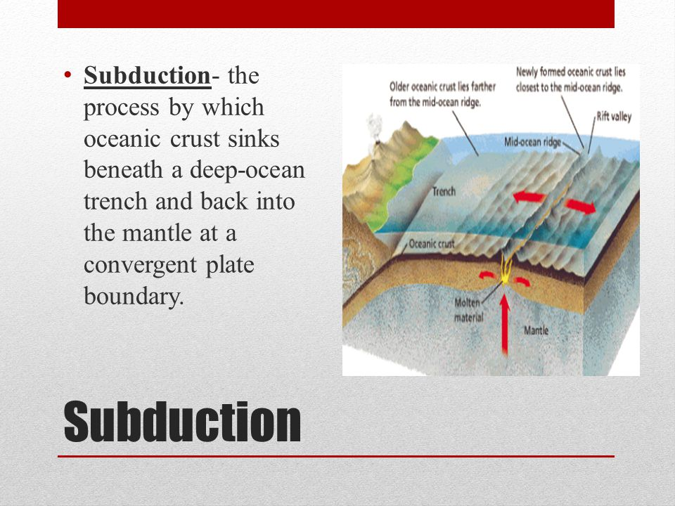 Subduction Subduction- the process by which oceanic crust sinks beneath a deep-ocean trench and back into the mantle at a convergent plate boundary.