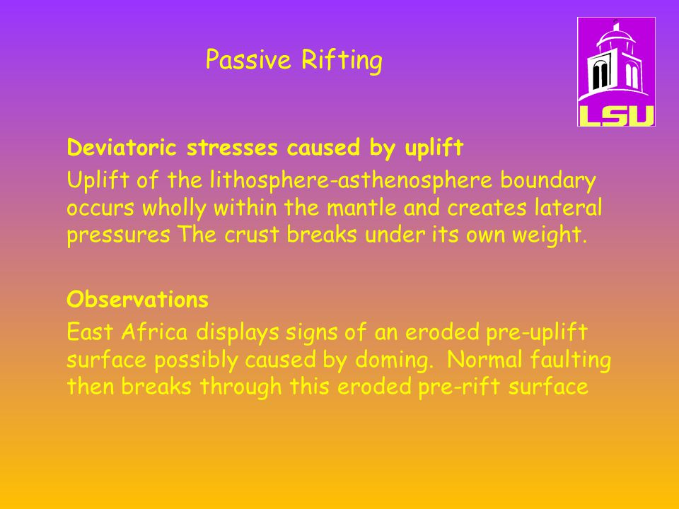 Passive Rifting Deviatoric stresses caused by uplift Uplift of the lithosphere-asthenosphere boundary occurs wholly within the mantle and creates lateral pressures The crust breaks under its own weight.