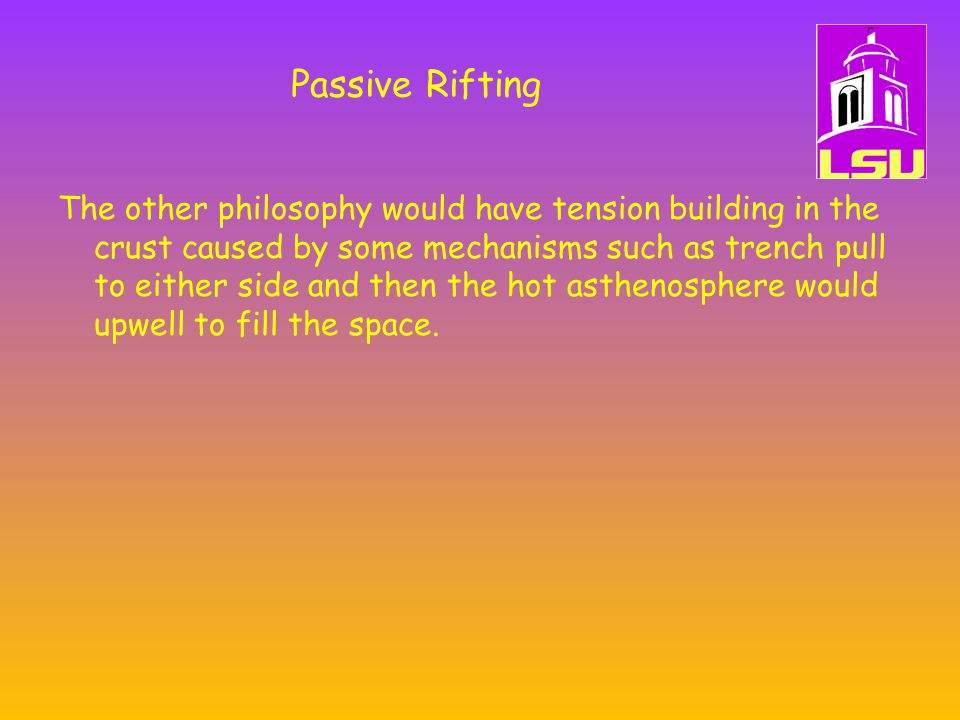 Passive Rifting The other philosophy would have tension building in the crust caused by some mechanisms such as trench pull to either side and then the hot asthenosphere would upwell to fill the space.