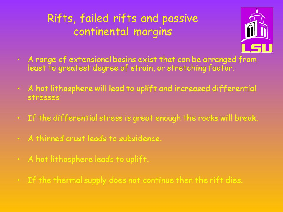 Rifts, failed rifts and passive continental margins A range of extensional basins exist that can be arranged from least to greatest degree of strain, or stretching factor.