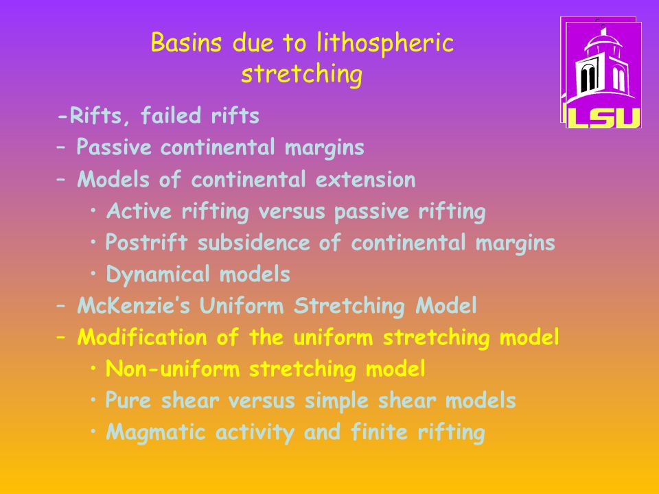 Basins due to lithospheric stretching -Rifts, failed rifts –Passive continental margins –Models of continental extension Active rifting versus passive rifting Postrift subsidence of continental margins Dynamical models –McKenzie's Uniform Stretching Model –Modification of the uniform stretching model Non-uniform stretching model Pure shear versus simple shear models Magmatic activity and finite rifting