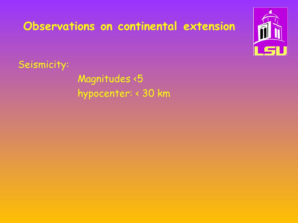 Flexural Compensation Local (Airy isostasy) when lithosphere is hot, young and weak and lateral strength is minimal.