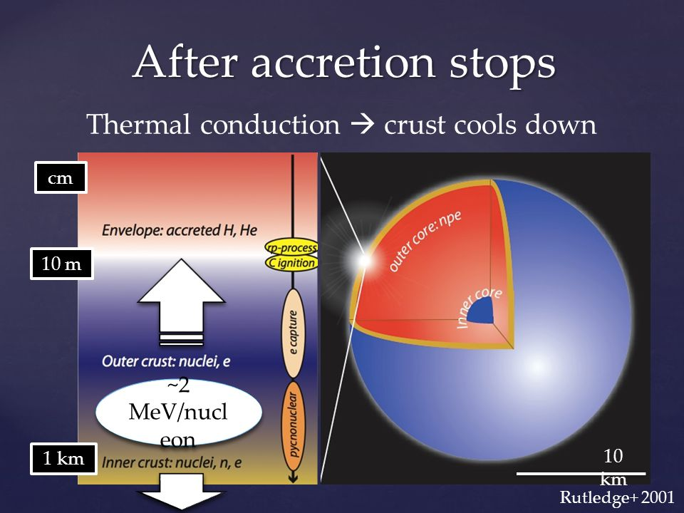 After accretion stops 10 km 1 km 10 m cm ~2 MeV/nucl eon Thermal conduction  crust cools down Rutledge+ 2001