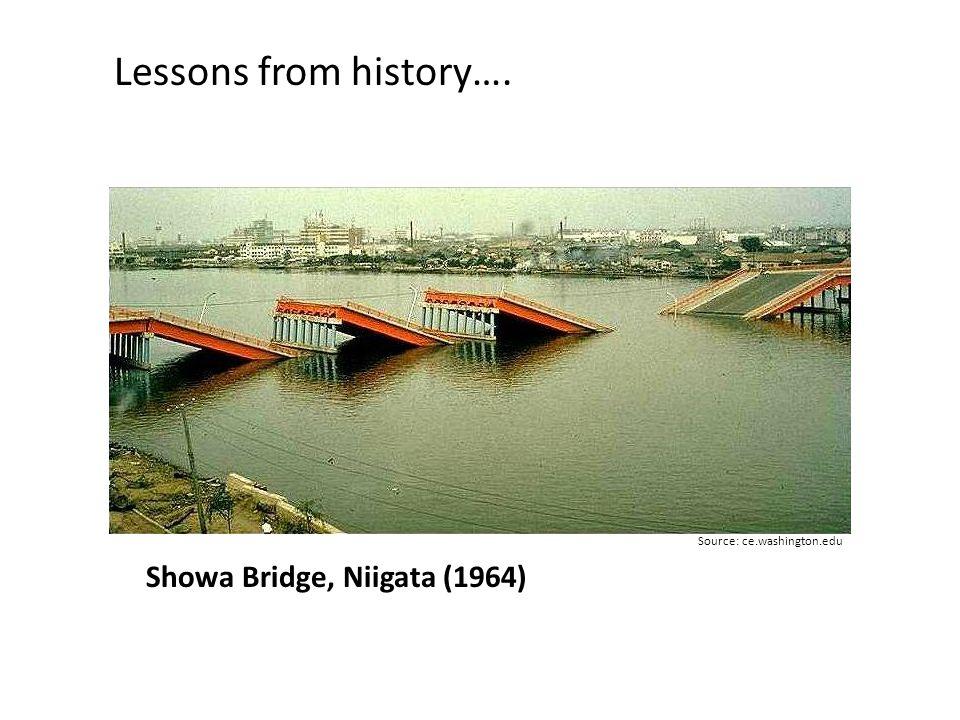Showa Bridge, Niigata (1964) Lessons from history…. Source: ce.washington.edu