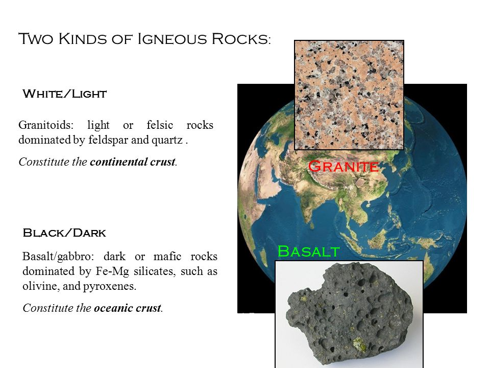 Two Kinds of Igneous Rocks : Basalt/gabbro: dark or mafic rocks dominated by Fe-Mg silicates, such as olivine, and pyroxenes.