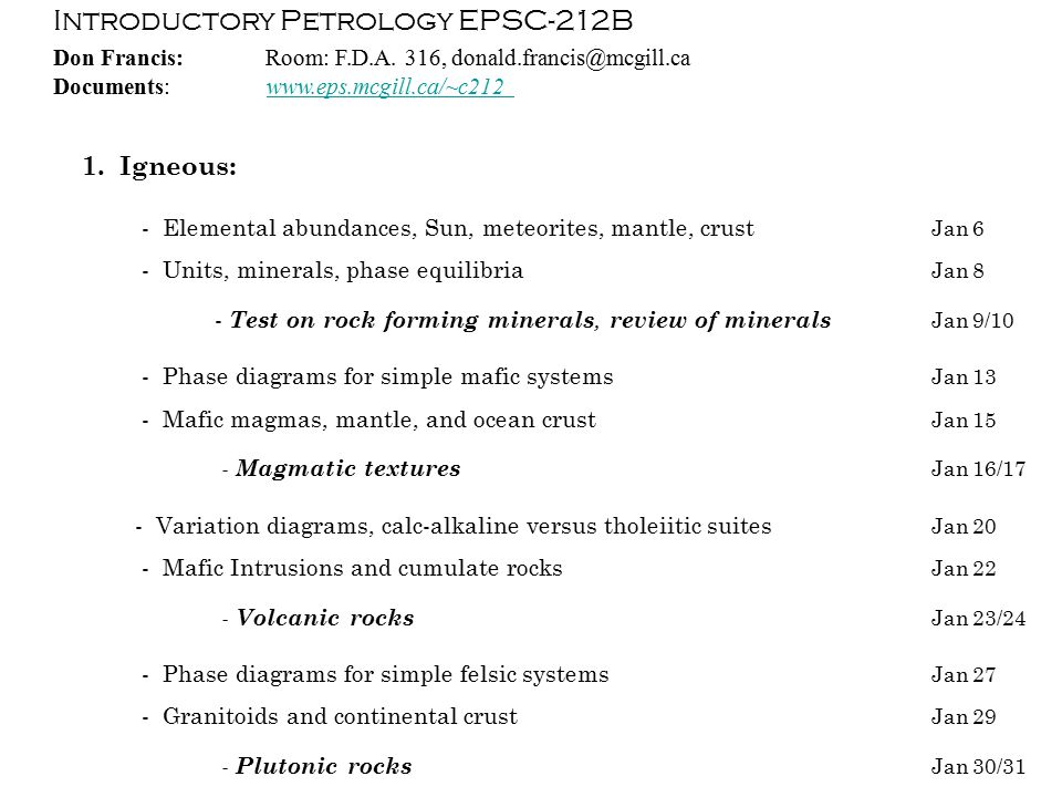 Introductory Petrology EPSC-212B 2.
