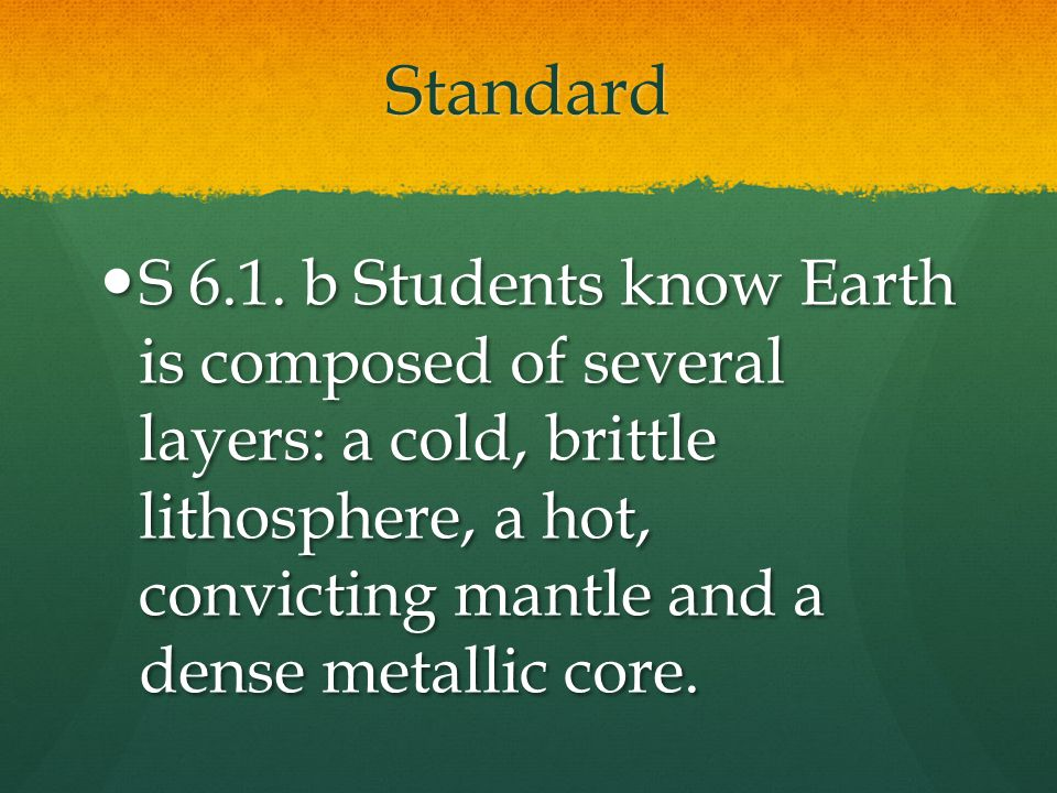 Standard S 6.1. b Students know Earth is composed of several layers: a cold, brittle lithosphere, a hot, convicting mantle and a dense metallic core.