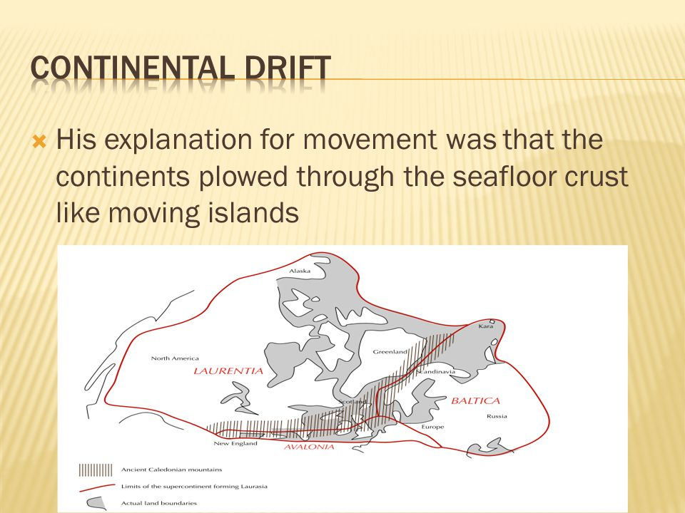  His explanation for movement was that the continents plowed through the seafloor crust like moving islands
