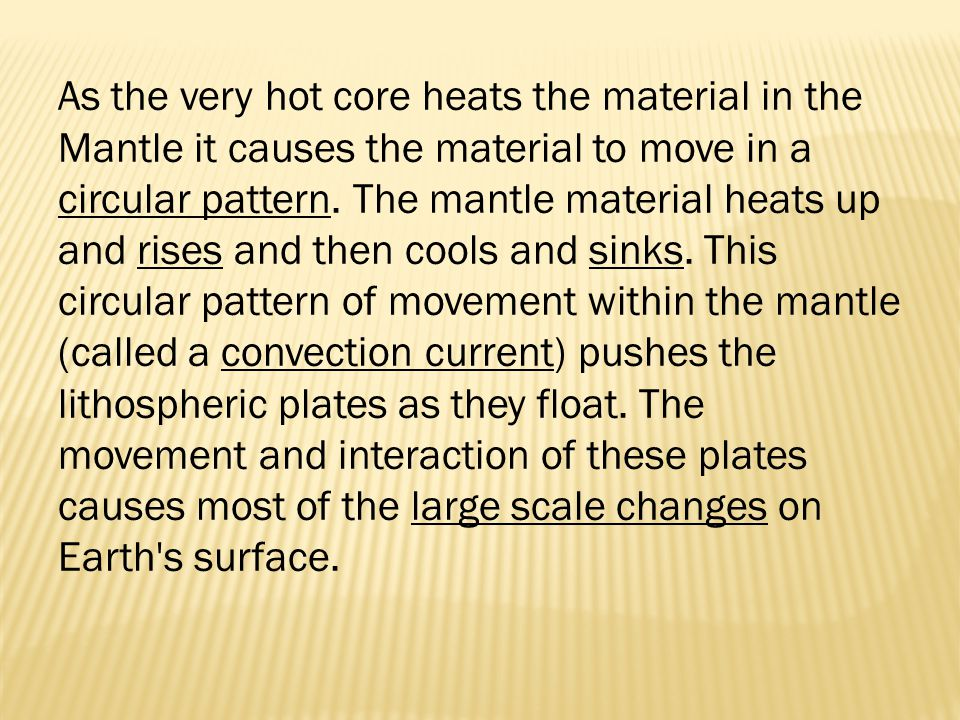 As the very hot core heats the material in the Mantle it causes the material to move in a circular pattern.
